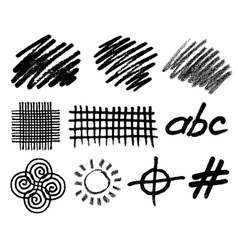 Grunge hand drawn geometric elements for vector image