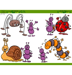 happy insects set cartoon vector image