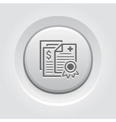 Health Insurance Policy Icon Grey Button Design vector image