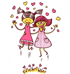 jumping girls vector image vector image