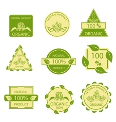 Organic natural emblems products labels mark vector image