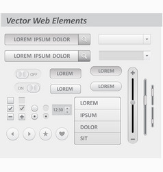 set of flat white design ui and ux elements vector image