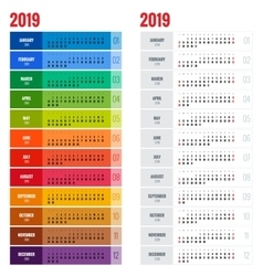 Yearly Wall Calendar Planner Template for 2019 vector image vector image