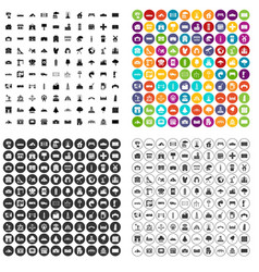 100 landscape element icons set variant vector image