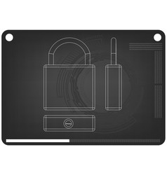 3d model of the padlock on a black vector image