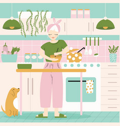 a woman in her kitchen with food and dog home vector image