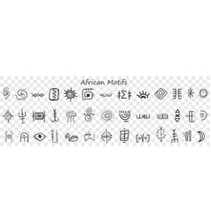 African motives and patterns doodle set vector