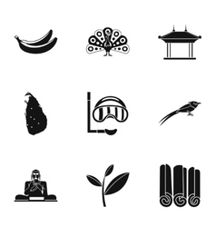 Attractions of Sri Lanka icons set simple style vector