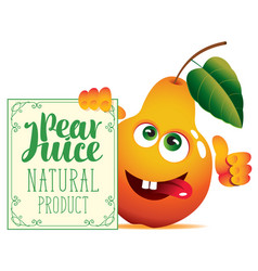 banner for pear juice with a cute character pear vector image