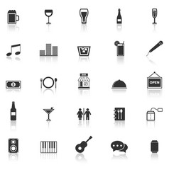 bar icons with reflect on white background vector image
