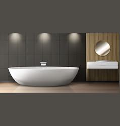 Bathroom interior with bath sink and round mirror vector