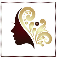 beauty woman face silhouette in profile vector image