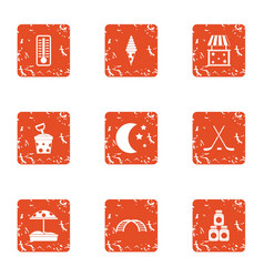 Bedside lamp icons set grunge style vector