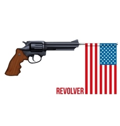 Big Revolver with USA flag vector image