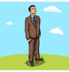 Businessman outdoors pop art style vector image