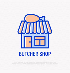 butcher shop thin line icon vector image