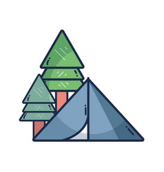 Camp with trees and natural adventure vector