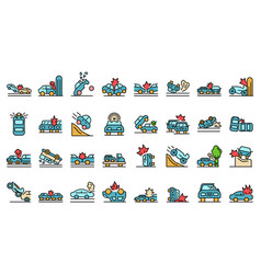 Car accident icons set flat vector