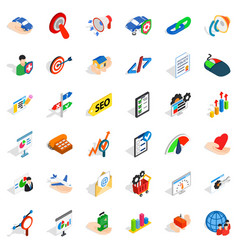 Career in company icons set isometric style vector