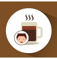 Cartoon guy with coffee mug hot design icon vector