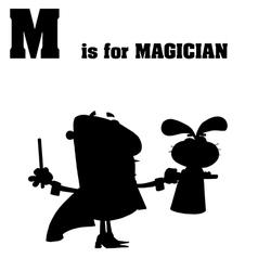 Cartoon magician silhouette vector image
