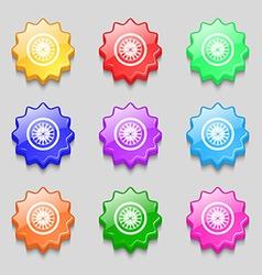 Casino roulette wheel icon sign symbol on nine vector