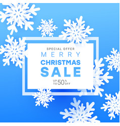 christmas sale banner with volumetric snowflakes vector image