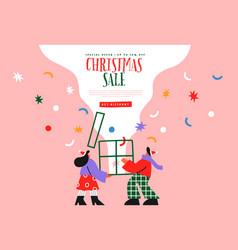 christmas sale web template friend gift cartoon vector image