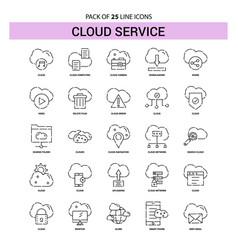 cloud service line icon set - 25 dashed outline vector image