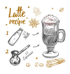 Coffee latte recipe vector