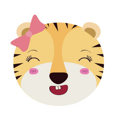 Colorful caricature face female tigress animal vector
