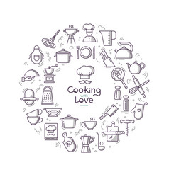 Cooking with love circular background from line vector