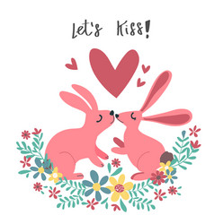 couple pink rabbit bunny kissing in flower wreath vector image