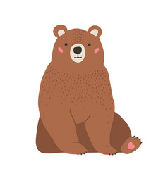 cute adorable little brown bear funny lovely vector image