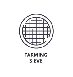 farming sieve line icon outline sign linear vector image