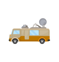 Flat icon of media van car with satellite vector