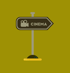 Flat icon on background cinema sign vector