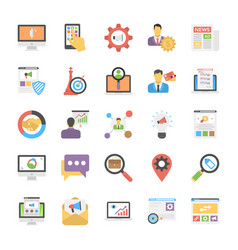 flat icon set of media and advertisement vector image