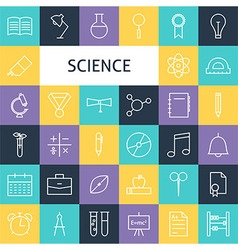 Flat Line Art Modern Science Education and School vector image