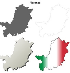 Florence blank detailed outline map set vector