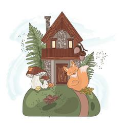 forest house autumn fall fairy nature illus vector image