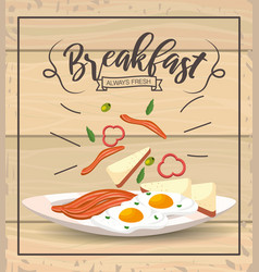 Fried eggs with bacons to delicios breakfast vector
