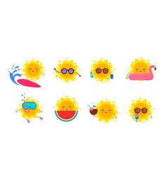 fun summer elements sun characters icons with vector image