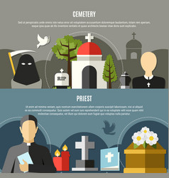 Funeral services banners set vector