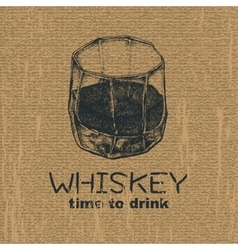 Glass of whiskey vintage vector