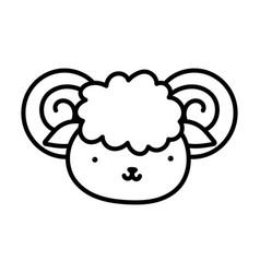 Goat face farm animal cartoon background thick vector