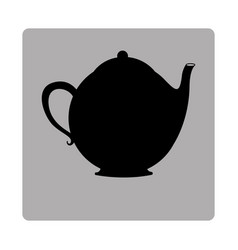 Gray square frame with silhouette tea kettle vector