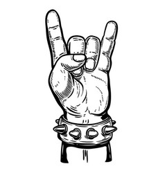 Hand drawn human hand with rock and roll sign vector
