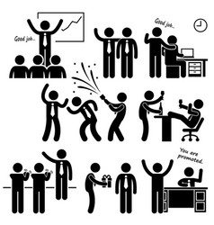 happy boss rewarding employee stick figure vector image