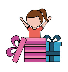 happy girl coming out birthday gift vector image